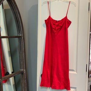 JCrew red linen dress